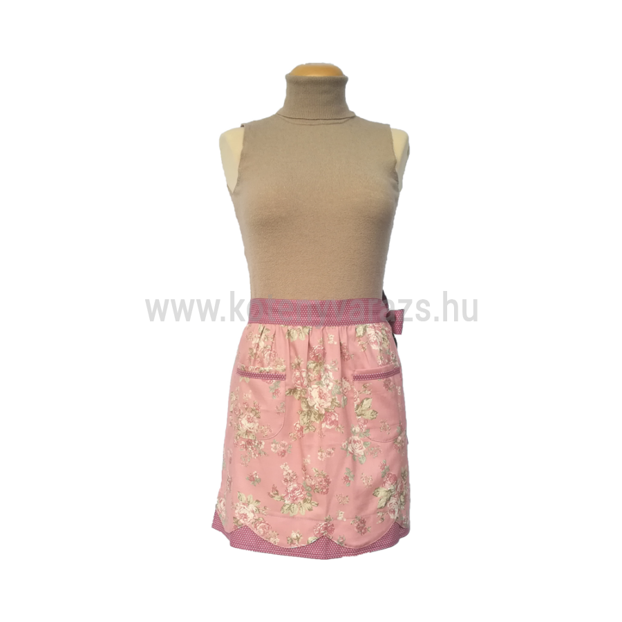 6fb3dbae7a Nefelejcs rózsaszín, pöttyös, rózsás feles női kötény Katt rá a  felnagyításhoz